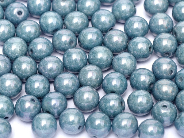 3mm Round Glass Beads, Baby Blue Luster (Qty: 50)