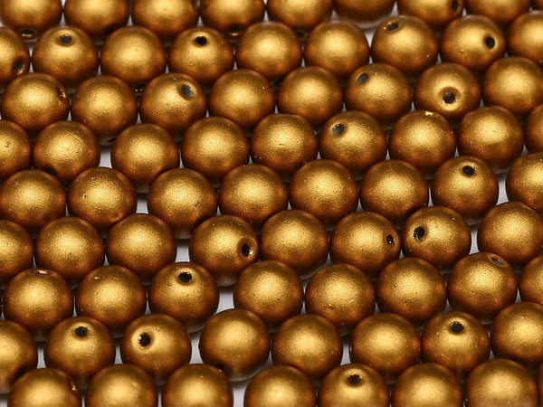 3mm Round Glass Beads, Brass Gold (Qty: 50)