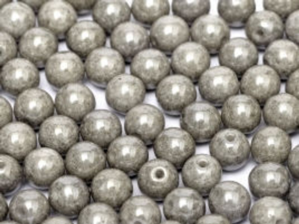 3mm Round Glass Beads, Grey Luster (Qty: 50)