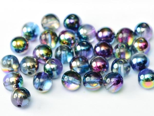3mm Round Glass Beads, Magic Blue (Qty: 50)