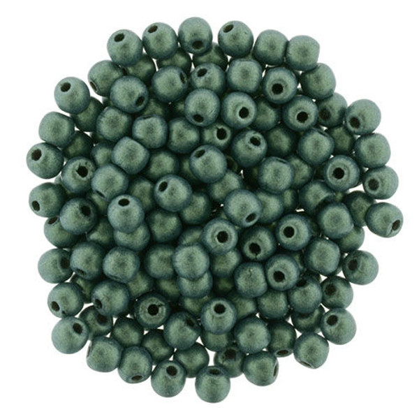 3mm Round Glass Beads, Light Green Metallic Suede (Qty: 50)
