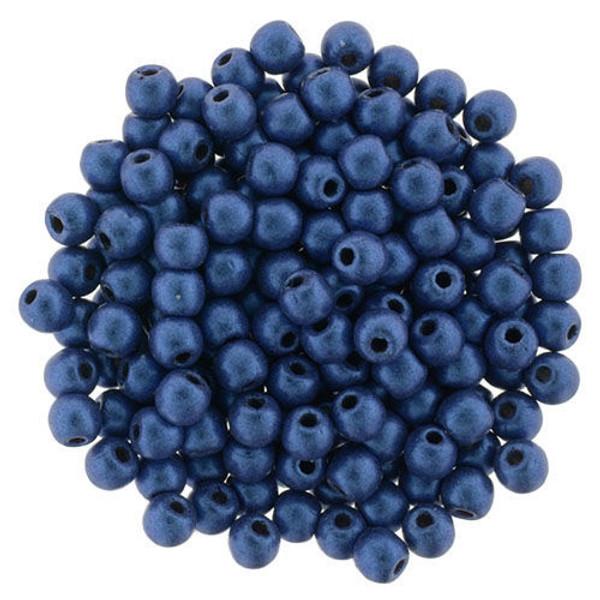 2mm Round Glass Beads (Druks), Blue Metallic Suede (Qty: 50)