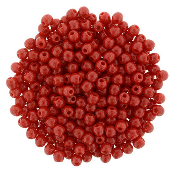 2mm Round Glass Beads (Druks), Opaque Red (Qty: 50)