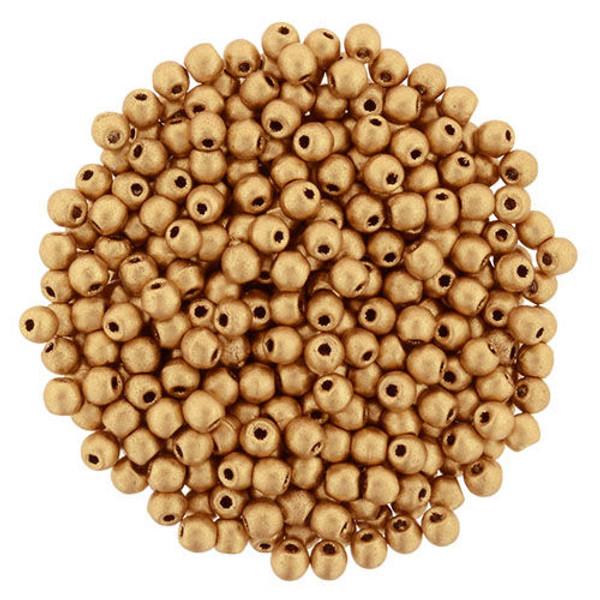 2mm Round Glass Beads (Druks), Matte Metallic Flax (Qty: 50)