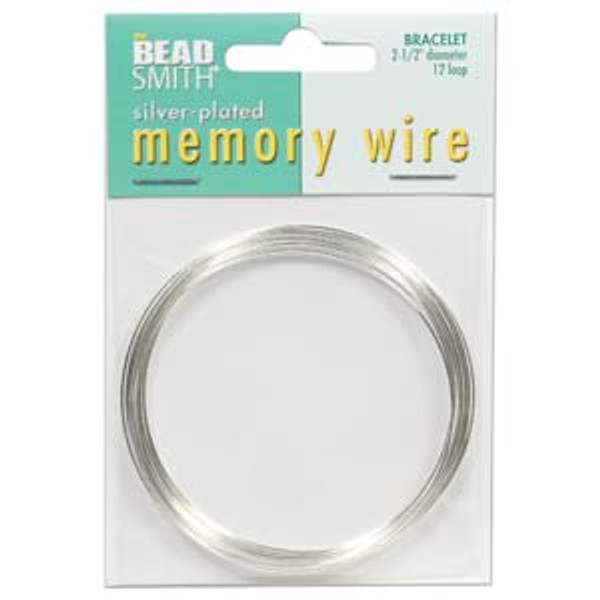 """Memory Wire - Round Bracelet - 2.5"""" (Large) - Silver (12 loops)"""