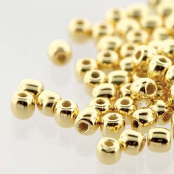 2mm Round Glass Beads (Druks), 24K Gold Plate (True 2) (Qty: 50)