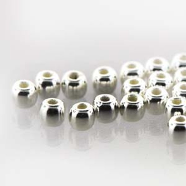 2mm Round Glass Beads (Druks), Silver-Plated (True 2) (Qty: 50)