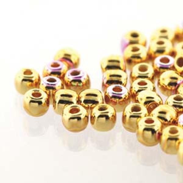 2mm Round Glass Beads (Druks), 24K Gold-Plated AB (True 2) (Qty: 50)
