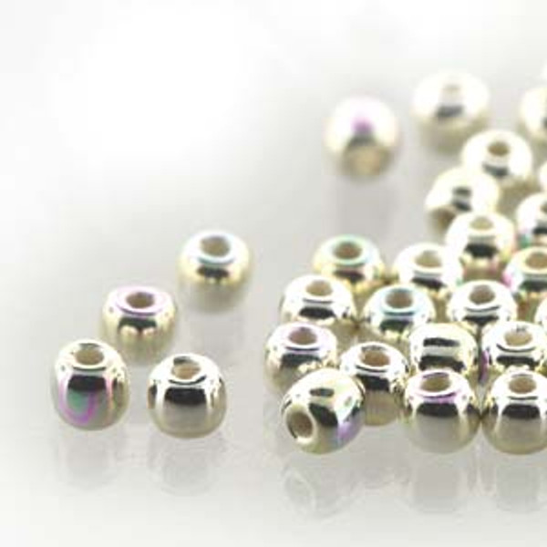 2mm Round Glass Beads (Druks), Silver-Plated AB (True 2) (Qty: 50)