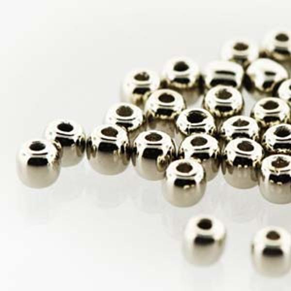 2mm Round Glass Beads (Druks), Nickel-Plated (True 2) (Qty: 50)