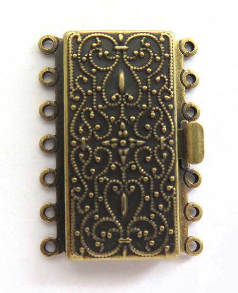 7 Strand Antique Brass Box Clasp