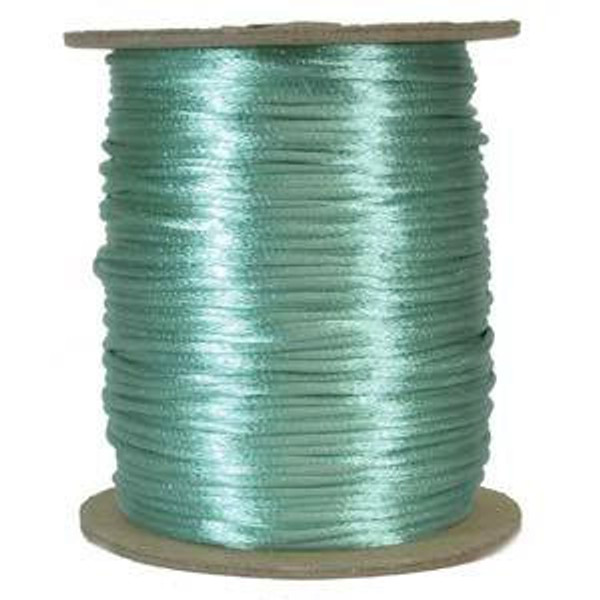 2mm Satin Cord (Rattail), Turquoise Green (6 yds.)