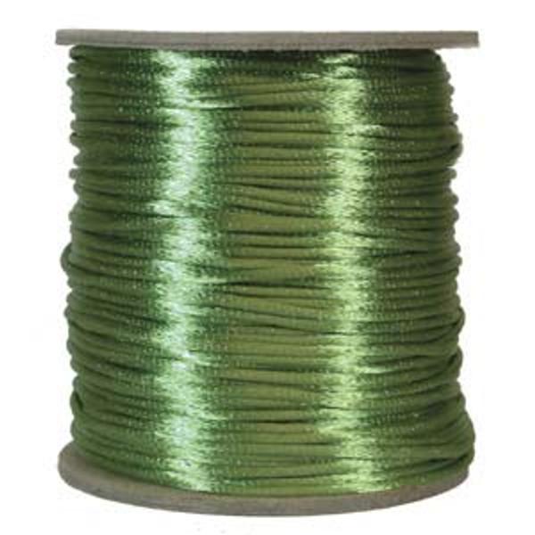2mm Satin Cord (Rattail), Apple Green (6 yds.)