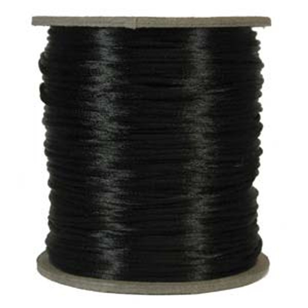 2mm Satin Cord (Rattail), Black (6 yds.)