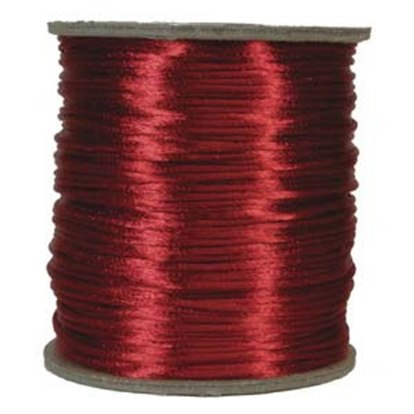 2mm Satin Cord (Rattail), Red (6 yds.)