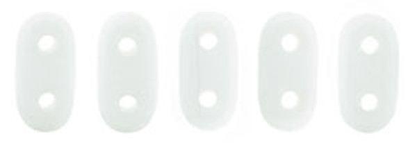 2-Hole Bar Beads, Opaque White (10 gr.)