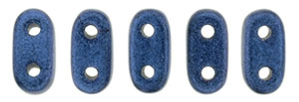 2-Hole Bar Beads, Blue Metallic Suede (10 gr.)