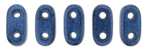2-Hole Bar Beads, Blue Metallic Suede (10 gr.)