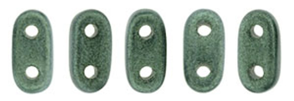 2-Hole Bar Beads, Light Green Metallic Suede (10 gr.)