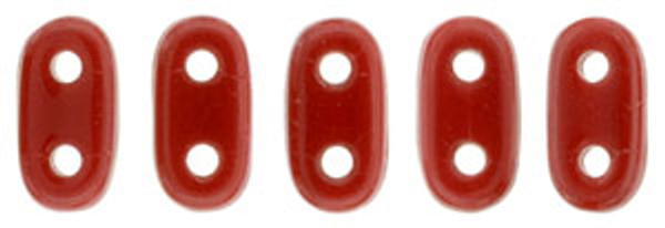 2-Hole Bar Beads, Opaque Red (10 gr.)
