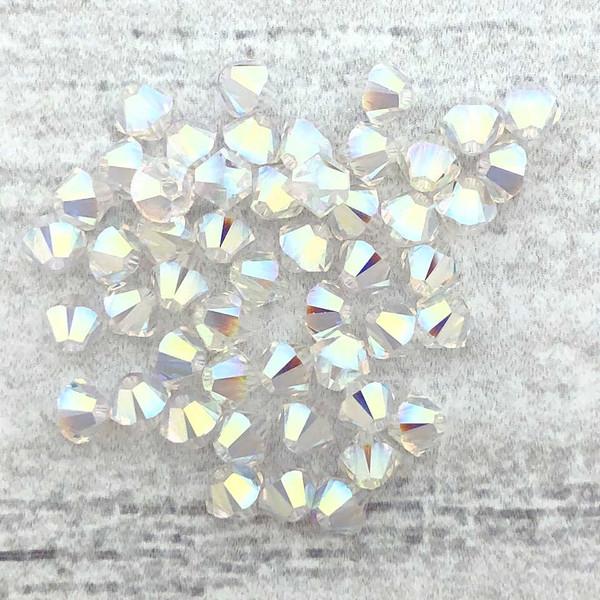 4mm Swarovski Bicones, Crystal AB2X (Qty: 50)