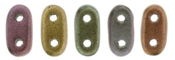 2-Hole Bar Beads, Metallic Bronze Iris (10 gr.)