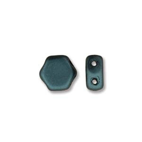 2-Hole Honeycomb Beads, Pastel Petrol (Qty: 30)