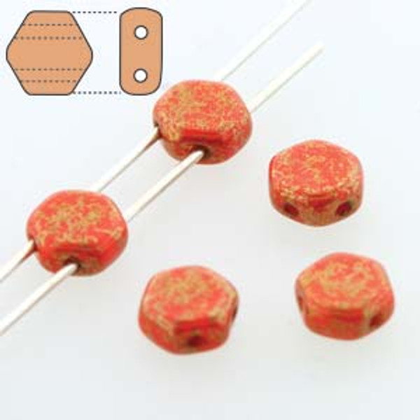 2-Hole Honeycomb Beads, Red Lumi (Qty: 30)