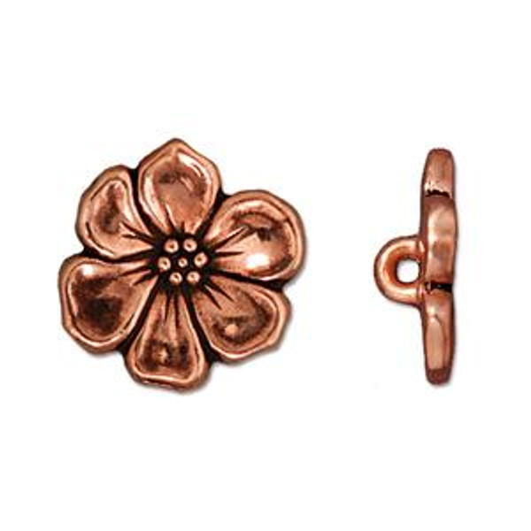 TierraCast Apple Blossom Button, Antique Copper-Plated (Qty: 1)