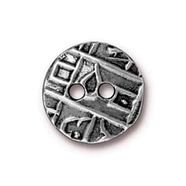 TierraCast Button, Round Coin, Antique Pewter (Qty: 1)
