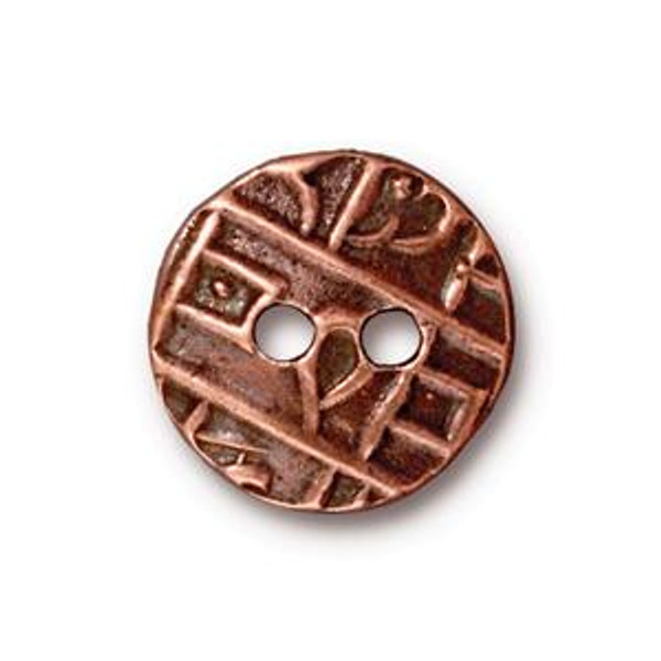 TierraCast Button, Round Coin, Antique Copper Plated (Qty: 1)