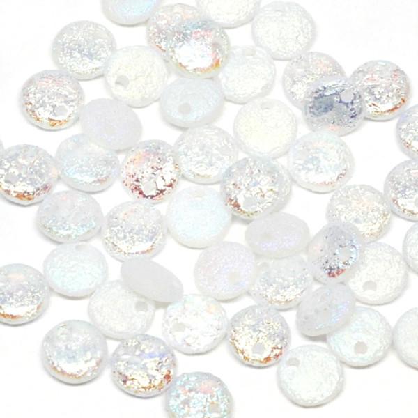 1-Hole Lentil, Etched Crystal Full AB (Qty: 50)