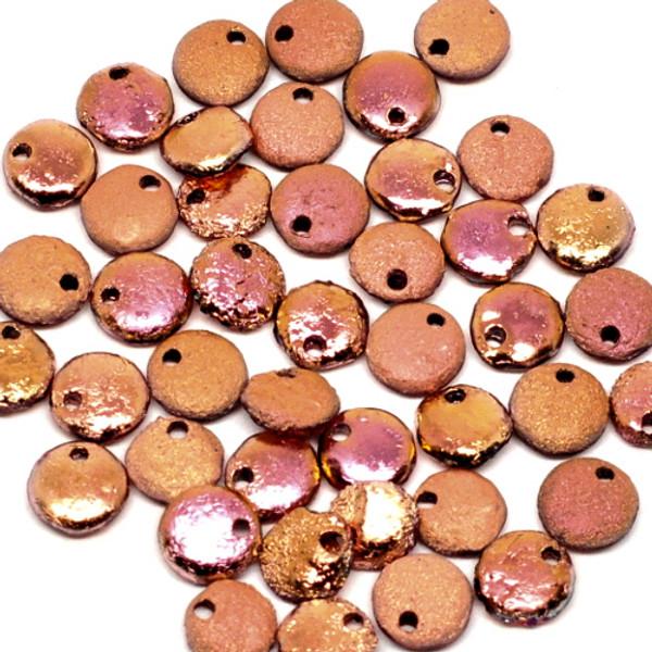 1-Hole Lentil, Etched Crystal Full Capri Rose (Qty: 50)