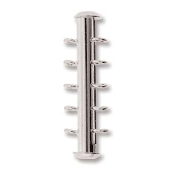 5 Strand Silver Plated Slide Clasp with Vertical Loops (Qty: 1)