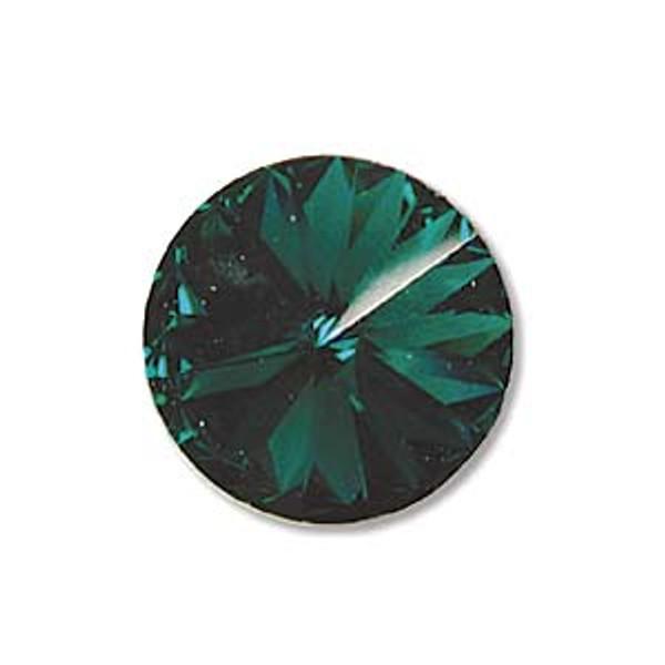 12mm Swarovski Rivoli, Emerald (Qty: 1)