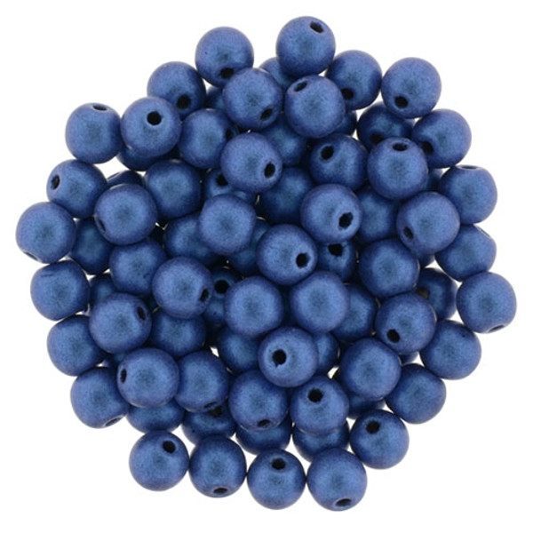 4mm Round Glass Beads, Blue Metallic Suede (Qty: 50)