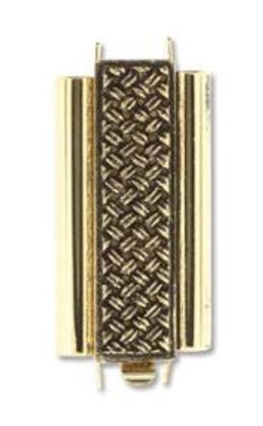 Elegant Elements BeadSlide Clasp, Cross Hatch, Antique Gold, 22mm (Qty: 1)