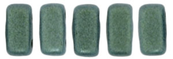2-Hole Brick Beads, Light Green Metallic Suede (Qty: 25)