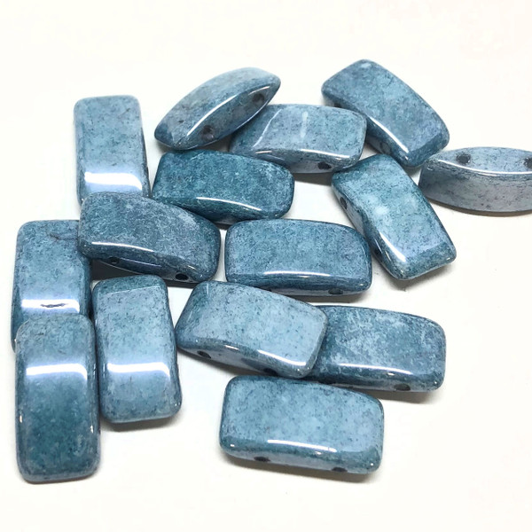 Carrier Beads, Czech Glass, 2-hole, Blue Luster (Qty. 15)
