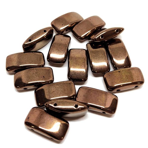 Carrier Beads, Czech Glass, 2-hole, Bronze (Qty. 15)