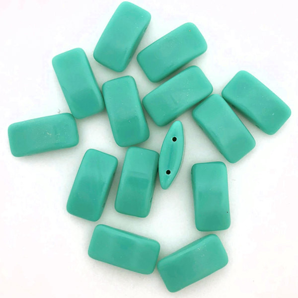 Carrier Beads, Czech Glass, 2-hole, Turquoise Green (Qty. 15)