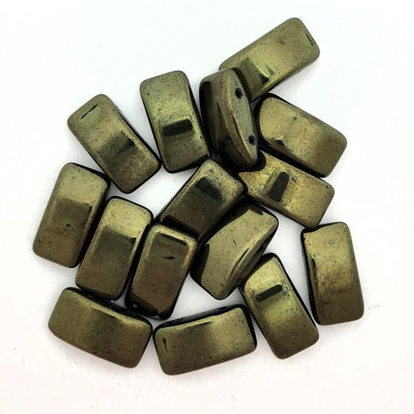 Carrier Beads, Czech Glass, 2-hole, Metallic Green (Qty. 15)