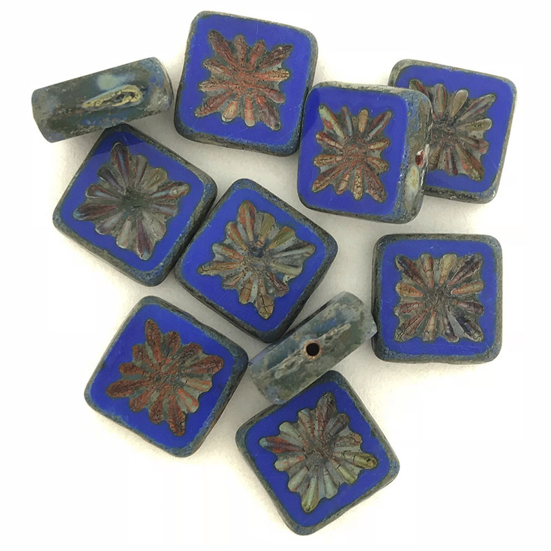 Table Cut Starburst Square, Royal Blue Picasso, 10x10mm (Qty: 10)