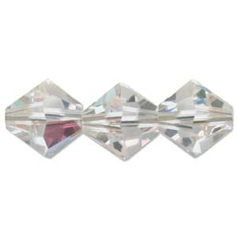 3mm Swarovski Bicones, Crystal AB (Qty: 50)