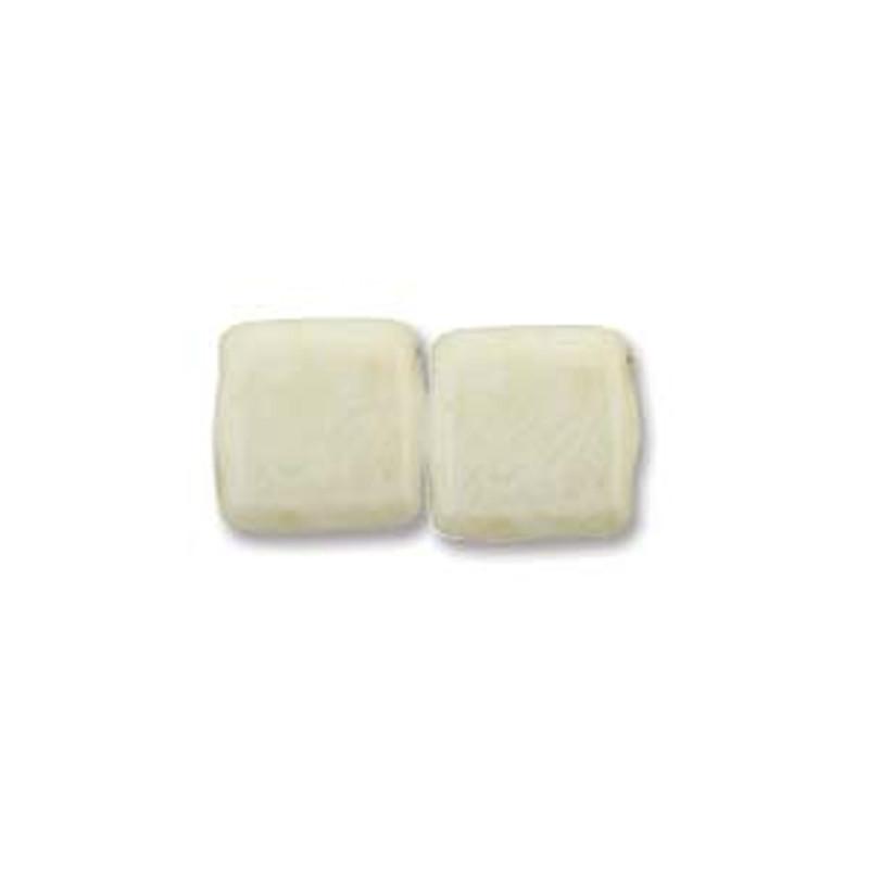 2-Hole CzechMates Tile Beads, Beige Luster (Qty: 25)