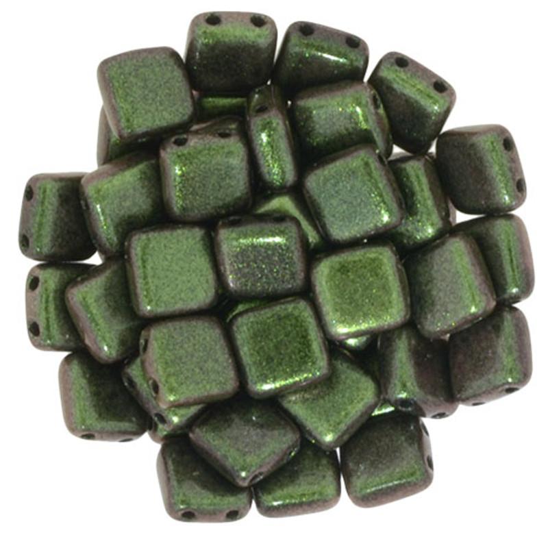 2-Hole CzechMates Tile Beads, Olive Mauve (Qty: 25)