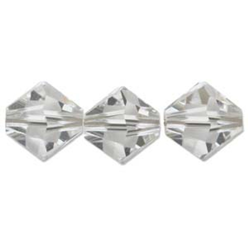 3mm Swarovski Bicones, Crystal (Qty: 50)