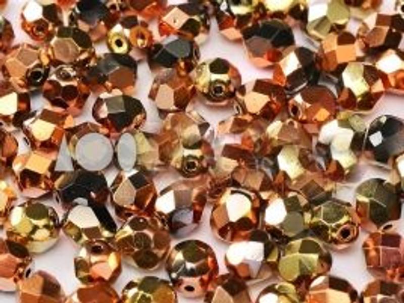 3mm Fire Polish, California Gold Rush (Qty: 50)