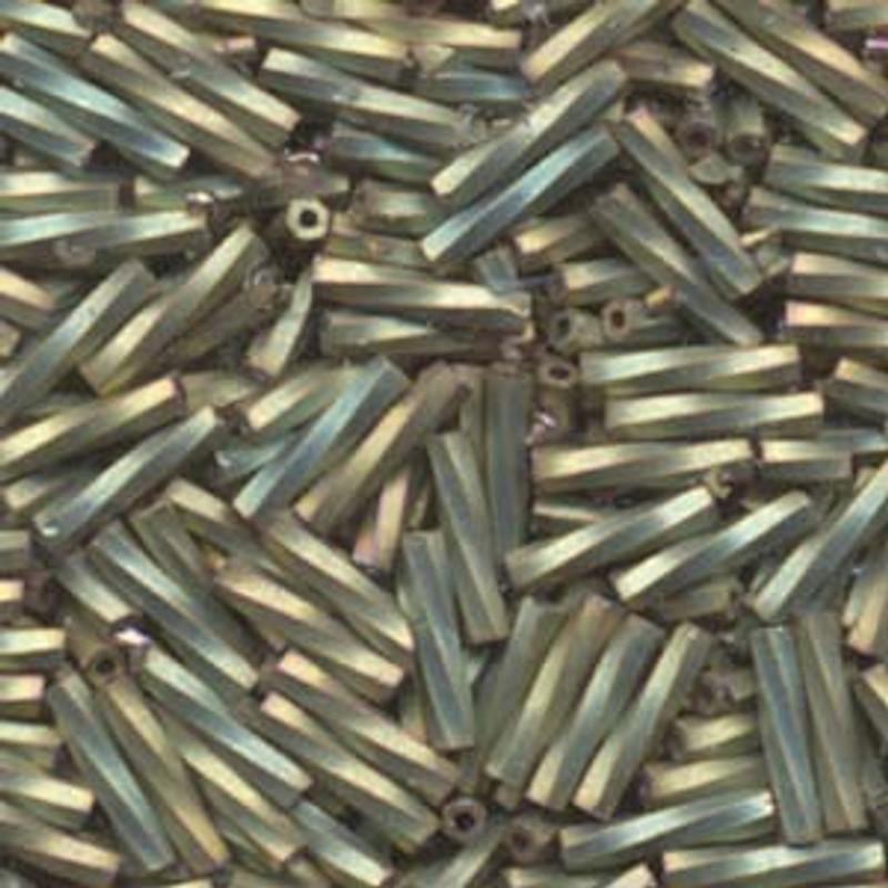2.7 x 12mm Twisted Bugles, Matte Metallic Khaki Iris (10 gr.)