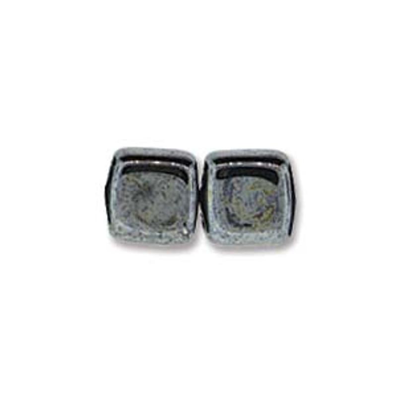 2-Hole CzechMates Tile Beads, Hematite (Qty: 25)